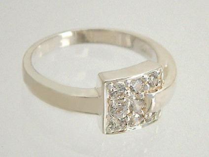 Top Design! Toller Silberring 925 - Quadrat mit Zirkonias - Ring echt Silber