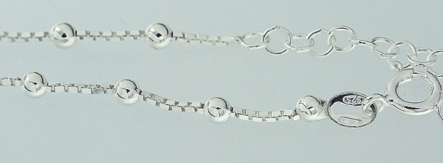 Fußkettchen Silber 925 trendy Kugelkette Fußkette Sterlingsilber Silberkette