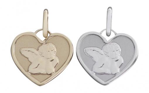 Schutzengel Anhänger Herz Gelbgold oder Weißgold 585 - Goldanhänger Engel Herz