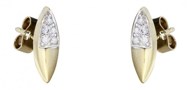 Ohrstecker Gold 585 mit Brillanten 0, 10 ct. moderne Goldohrstecker Ohrringe