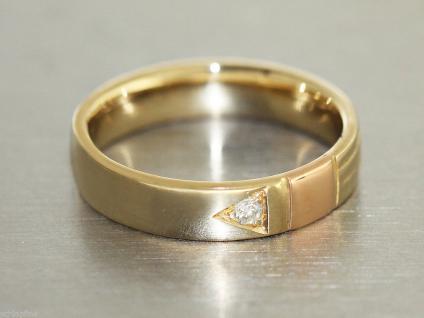 Ring Gold 585 Damenring 14 Karat Gold (585/000) mit 1 Brillant, bicolor