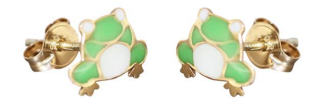 Kinder Ohrstecker Gold 585 kleine Frosch Ohrringe emailliert Stecker Gelbgold