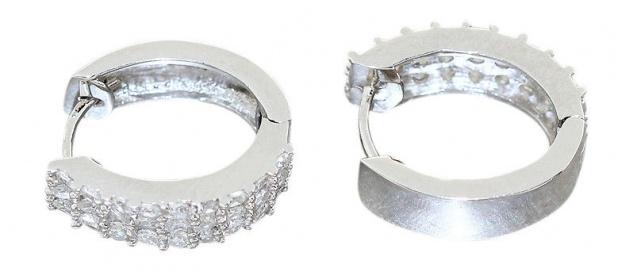 Breite Klappcreolen Silber 925 mit Zirkonias Ohrringe elegante Silbercreolen