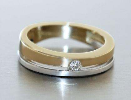 Ring Gold 585 bicolor mit Brillant 0, 06 ct. Solitär Goldring Damen RW 50 - Vorschau 2