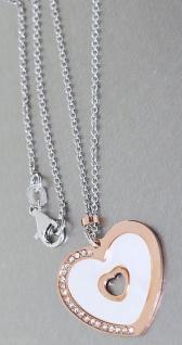 Silberkette 925 mit Anhänger Herz Rotgold mit Perlmutt und Zirkonia Kette Silber