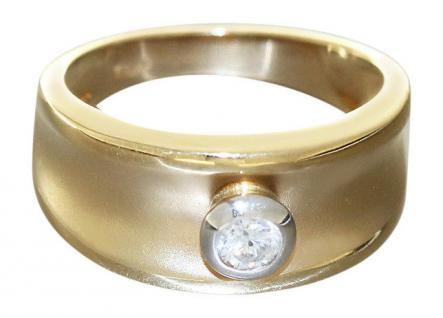 Breiter Goldring 585 Brillantring 0, 22 ct. Solitärring Ring Gold Damenring