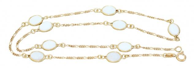 Opalkette Gold 750 Milchopal Figaro Collier 18 K Halskette Opal 46 cm Karabiner