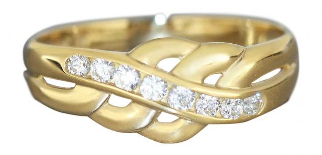 Eleganter Damenring Gold 750 mit Zirkonias Goldring 18 kt Ring Designerring