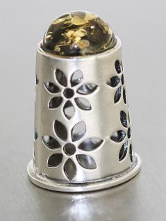 Fingerhut Silber 925 massiv mit grünem Bernstein Silberfingerhut Blumen Thimble