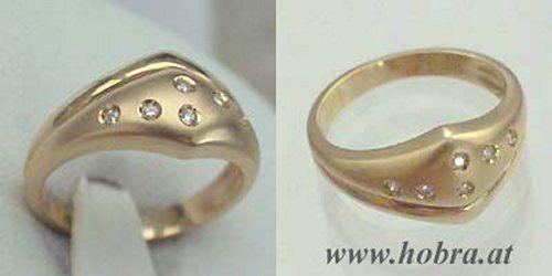 Eleganter Goldring 585 mit Brillant - Ring Gold 14 kt - Damenring - Brillantring