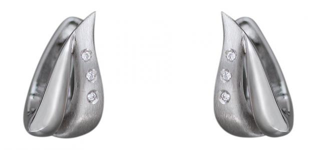 Klappcreolen Weißgold 585 mit Zirkonias - Ohrringe Gold - Weißgoldcreolen 14 kt