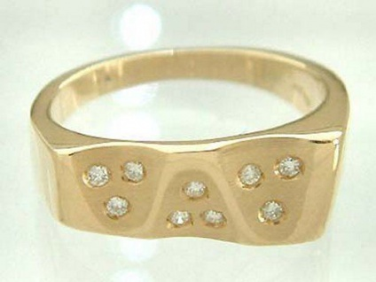 Designerring Brillant - massiver Goldring 585 - Ring Gold Damenring 9 Brillanten