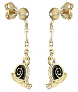 Ohrhänger Gold 750 Schnecken schwarz emailliert Ohrringe Damen Ohrschmuck