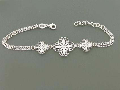 Blumenarmband Silberarmband 925 cooles Armband Silber Blume Armkette 2-reihig
