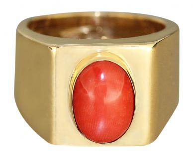 Klassischer Goldring 750 / 18 Karat mit Koralle Korallenring Ring Damenring