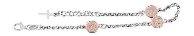 Schutzengel Armband Silber 925 Rotgold Silberarmband Angelo Armkette - Anhänger