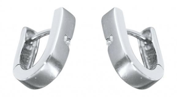 Ohrschmuck Weißgold 585 mit Zirkonias Ohrringe Klappcreolen Ohrhänger