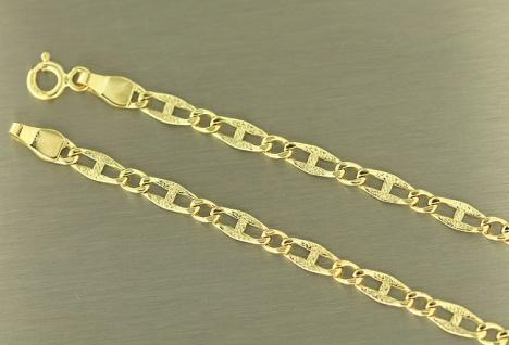 20, 5 cm flaches breites Armband Gold 585 - Goldarmband diamantiert Armkette 14kt