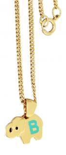 Anhänger Elefant Buchstabe B Kinderkette Gold Goldkette Panzerkette vergoldet