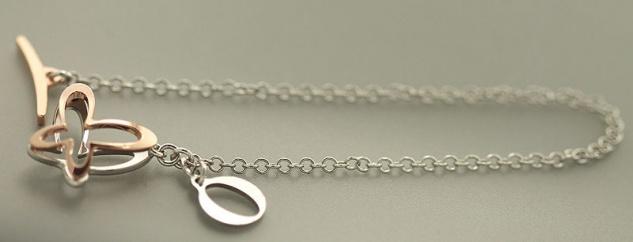 Zauberhaftes Armband Silber 925 mit Schmetterling Anhänger Silberarmband bicolor