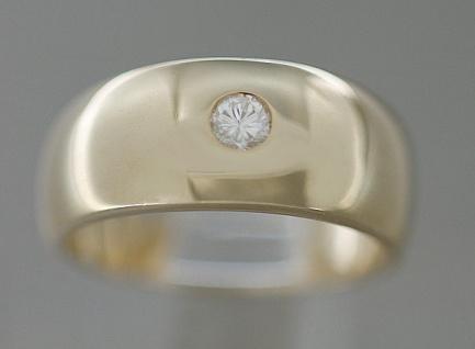 Klassiker - massiver Goldring 585 mit Brillant - Solitär Ring Gold Brillantring