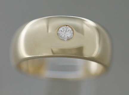 Klassiker massiver Goldring 585 mit Brillant Solitär Ring Gold Brillantring 14Kt