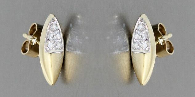 Ohrstecker Gold 585 mit Brillanten 0, 10 ct. moderne Goldohrstecker Ohrringe - Vorschau 2