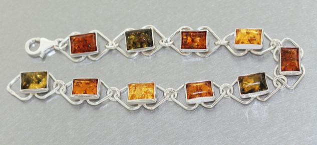 Armband Silber 925 Bernstein mehrfarbig Silberarmband Armkette Bernsteinarmband