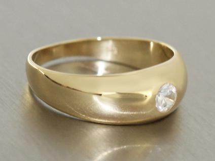 Solitärring Ring Gold 585 mit Zirkonia Goldring klassischer Damenring 14 K