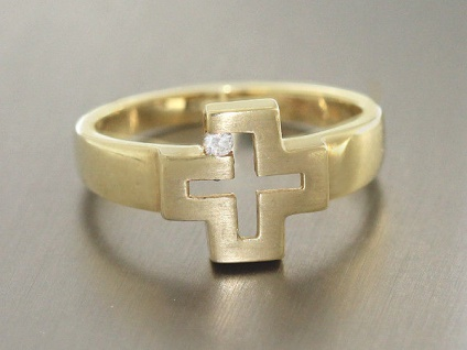 Massiver Goldring 585 - Kreuz - Ring Gold mit Zirkonia Designerring massiv Gold