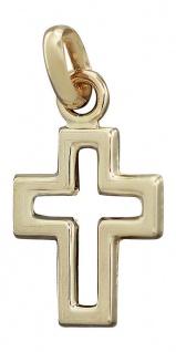 Kreuz Gold 585 Anhänger kleines Kreuz durchbrochen Gold 14 kt Kommunion Taufe