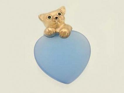 Hellblaues Herz mit Teddy Gold 375 - Anhänger Herz - Goldanhänger Teddybär 9 kt