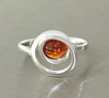 Silberring 925 Bernstein Bernsteinring flottes Design Ring Silber Cabochon