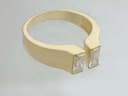 Goldring 585 mit Zirkonia Baguette Ring Gold 14 kt Damenring Designerring