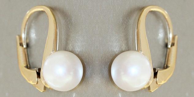 Perlen Ohrringe Gold 585 Brisur Ohrhänger 7, 5 mm Akoya Ohrschmuck Damen 14 Karat