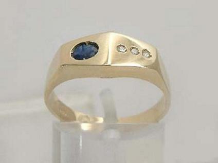 Gefragtes Design Goldring 585 mit Saphir und Brillanten Brillantring Gold 14kt