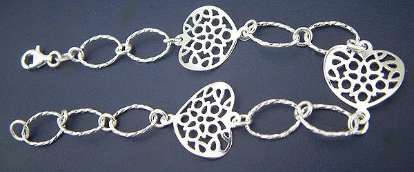 Silberarmband 925 Armband Silber m durchbrochenen Herzen Armkette Herz