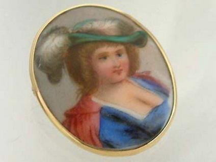 Anhänger Miniaturmalerei auf Keramik - in Gold 750 gefasst - Goldanhänger