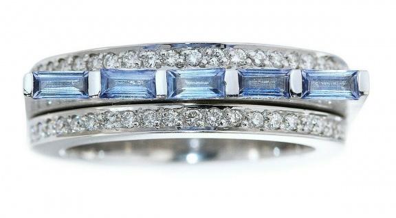 Ring Weißgold 750 massiv Brillanten 0, 60 ct Brillantring Saphir Damenring 16 gr