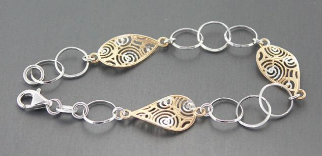 Armband Silber 925 Silberarmband massiv Designerarmband Armkette Silber Gold