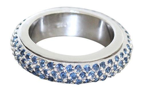 Memoryring Silber 925 massiv u. drehbar Silberring Zirkonias blau Eternity Damen