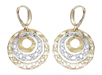 Ohrhänger Gold 585 bicolor Ohrringe Ohrschmuck rund beweglich Damen Brisur