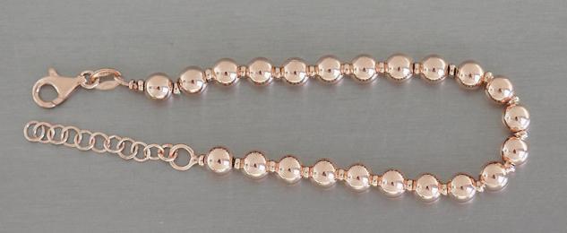 8 mm Kugel Armband Silber 925 Rotgold Silberarmband Kugelkette Rosegold Perlen