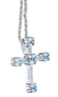 Kreuz Anhänger Silber 925 Zirkonias blau wahlweise mit Kette Silberkreuz