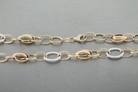 Collier Gold 585 - große Glieder 46 cm Goldkette bicolor Kette - Halskette 10 gr