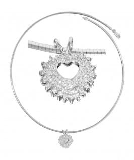 Omega Halsreif Silber 925 Herz Anhänger mit Zirkonias Collier Halskette massiv