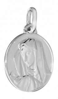 Marienanhänger Silber 925 rhodiniert Hl. Maria Madonna Silberanhänger rund