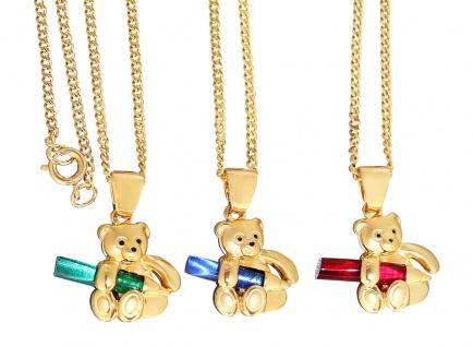 Kette und Anhänger Teddybär Gold pl Panzerkette Anhägner Teddy blau grün rot