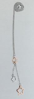 Silberkette 925 Stern Collier bicolor Erbskette Anhänger 41 cm Damen Halskette