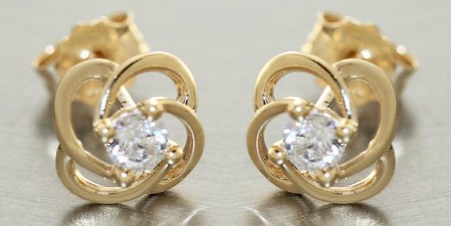 Ohrstecker Gold 585 mit Zirkonias Blumen Ohrringe Damen Ohrschmuck 14 Kt